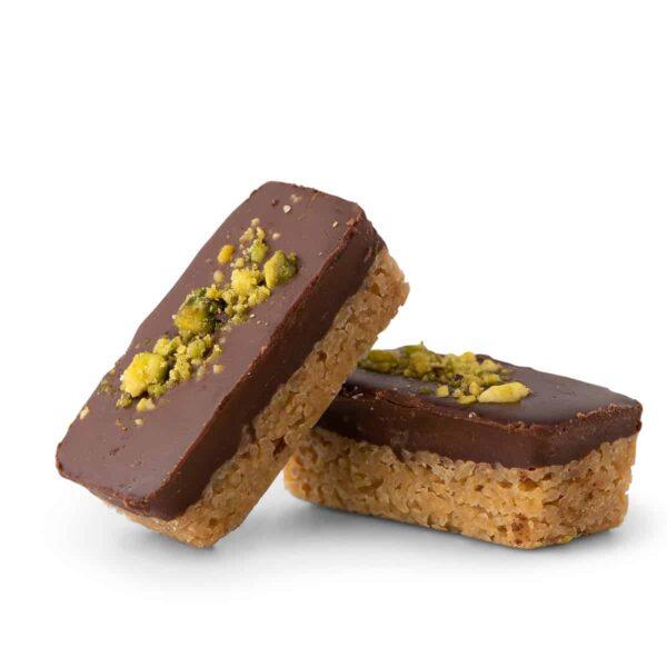 בר פיסטוק שוקולד מריר. טבעוני.